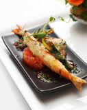 King prawn with vegetable tempura Stock Images