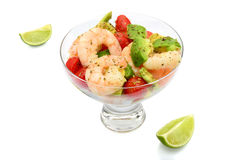 King prawns, avocado and lime Stock Images