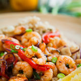 King prawns with brown rice Royalty Free Stock Photos