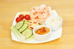 King prawns salad and dips Royalty Free Stock Photos