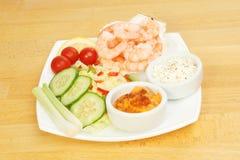 King prawns salad and dips Royalty Free Stock Photos