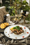 King prawns with salad and wine Stock Photo