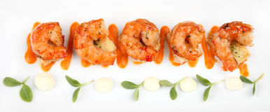 King Prawns Served in Plate Stock Photos