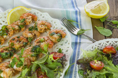 King prawns on skewers Stock Image