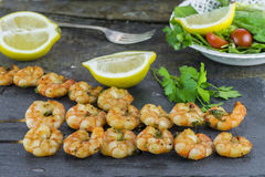 King prawns on skewers Royalty Free Stock Photo