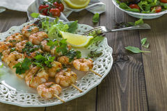 King prawns on skewers Stock Photography