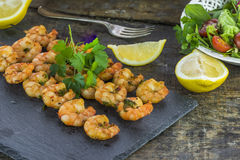 King prawns on skewers Stock Photo