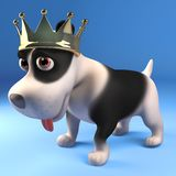 King puppy dog wearing his splendid gold crown of royalty, 3d illustration. Render vector illustration
