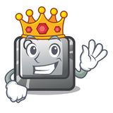 King Q button installed on cartoon computer. Vector illustration royalty free illustration