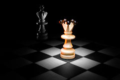 King and queen. On a chess board. A dark art background Royalty Free Stock Images