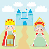 King and Queen. Standing outside blue castle with flag Stock Image