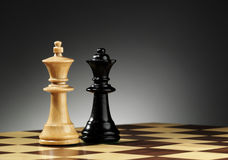 The king and queen. Piece of a chess table stock image
