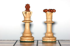 King and queen. On the chessboard Royalty Free Stock Photography