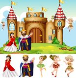 King and queen at the castle. Illustration vector illustration