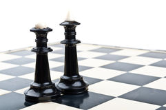 King and queen in chess. Isolated on a white background stock photography