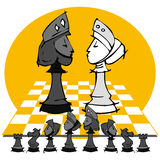 King and Queen: Chess game, Cartoon. Chess game on cartoon style Stock Photography