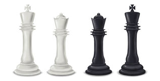 King and Queen chess pieces - digital illustration. Illustration of both black and white king and queen chess pieces Stock Photography