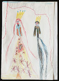 King and Queen. Child's Drawing. Stock Photos