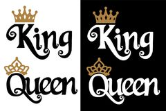 King and queen - couple design. Black text and gold crown isolated on white background. stock illustration