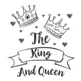 King and queen crown doodles Stock Image