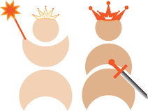 King and queen with crowns Stock Image