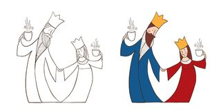 King and Queen with cups. The king and Queen dance. The royals are holding cups of tea or coffee. Vector illustration of hand-drawn Royalty Free Stock Images