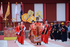 King and Queen in festival of Shuri castle Royalty Free Stock Images