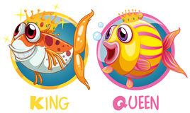 King and queen fish on round badge Stock Photos