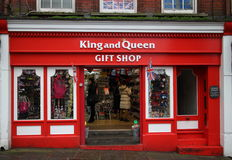 King and Queen Gift Shop. Windsor, England - January 01, 2015 Visitors inside the doorway of the King and Queen Gift Shop in Windsor, England. Annual visitor Royalty Free Stock Photography