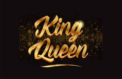 Goldenlogotype copy 43. King queen gold word text with sparkle and glitter background suitable for card, brochure or typography logo design Royalty Free Stock Image