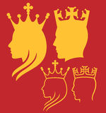 King and queen heads. King and queen face man, silhouette head of a king and queen Royalty Free Stock Images