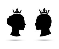 King and queen heads, king and queen face vector Stock Image