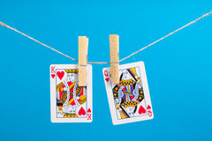King and Queen of Hearts  with clothes peg rope Stock Photos