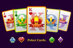 King, queen and jack Playing card suits with crown and ribbon. Cartoon Poker symbols for casino and GUI graphic. Icons on separate layers royalty free illustration