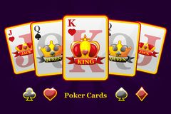 King, queen and jack Playing card suits with crown and ribbon. Poker symbols for casino and GUI graphic. Iconss on separate layers royalty free illustration