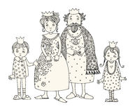 King and Queen with kids Royalty Free Stock Images
