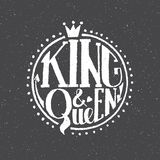 King and queen logotype, badge and icon. Valentine`s Day postcard, card template. Wedding invitation template. Gruge texture. Lett Stock Photography