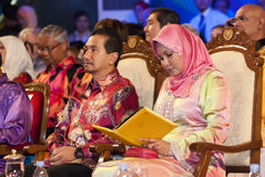 King & Queen of Malaysia. KUALA LUMPUR, MALAYSIA-MAY 21: Sultan Mizan Zainal Abidin, King of Malaysia and Queen during the celebration of Color of 1 Malaysia on Royalty Free Stock Photography