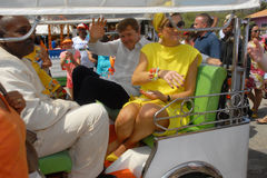 The King and Queen Maxima in the Tuk Tuk Royalty Free Stock Photo