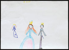 King and Queen and Princess. Child's Drawing. Stock Images