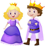 King and queen in purple costume. Illustration Stock Photos