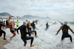 King and Queen of the Sea competition on Copacabana Beach. Competitors of the King and Queen of the Sea challenge on the Copacabana beach in Rio de Janeiro Stock Photography