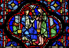 King Queen Stained Glass Sainte Chapelle Paris France Royalty Free Stock Image