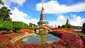 King & Queen stupa at the peak of Doi Inthanon. Napapon Phoom-siri Chedi - a temple dedicated to the Queen of Thailand commemorating her 60th birthday near the royalty free stock photos