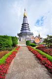 King & Queen stupa at the peak of Doi Inthanon. Napapon Phoom-siri Chedi - a temple dedicated to the Queen of Thailand commemorating her 60th birthday near the royalty free stock photography