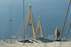 King rama 9 Bridge of Thailand royalty free stock photos