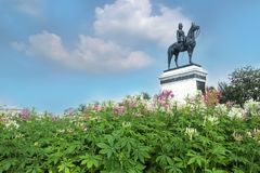 King Rama V monument -Equestrian statue of Chulalongkorn the Great ia an outdoor. Royal winter festival,Love and Warmth at Winter's End,at Royal Plaza stock photos