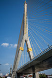 King Rama VIII Bridge. This cable-stayed bridge spanning the Chao Phraya River was built in memory of King Rama VIII royalty free stock images