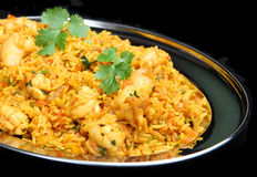 King Rawn Biriani Curry. Indian curried prawns with fried rice dish Royalty Free Stock Photos