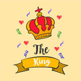 King red crown style doodles Stock Photos